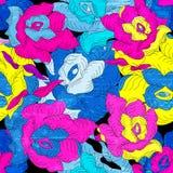 荧光的颜色玫瑰无缝的样式难看的东西纹理传染媒介例证 免版税库存图片