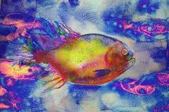 荧光的鱼游泳在一个奇怪的环境里 免版税库存照片