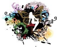 荧光神仙的grunge的蘑菇 免版税库存照片