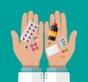 药剂师的手有药片和药物的 向量例证