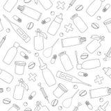药品无缝的样式 免版税库存图片