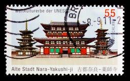 药师寺,奈良创立了680-697,世界遗产名录选址serie的联合国科教文组织,大约2011年 免版税库存图片