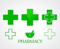药房标志-传染媒介 免版税库存照片