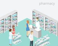 药房等量内部  平的3D infographic例证 免版税库存照片