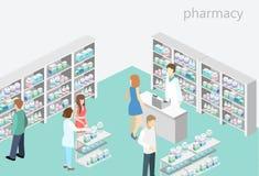 药房等量内部  平的3D infographic例证 库存照片