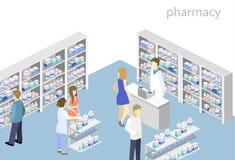 药房等量内部  平的3D infographic例证 图库摄影