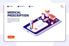 药房等量登陆的页 药剂师和顾客买的药片在药房 医学和医疗保健传染媒介3d 库存例证