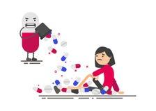 药片和妇女 库存例证