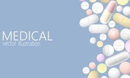 药片和片剂,在蓝色背景隔绝的医学 现实3D医学,胶囊,药物堆  医疗保健 向量例证