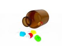 药片的玻璃医疗容器或胶囊和不同的颜色胶囊 库存图片