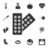 药片象 简单的元素例证 药片从怀孕汇集集合的标志设计 能为网和机动性使用 皇族释放例证