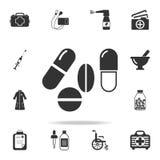 药片象 详细的套医学元素例证 优质质量图形设计 其中一个网站的汇集象 免版税库存照片