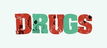 药物概念被盖印的词艺术例证 库存照片