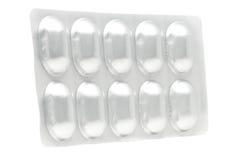 药物药片胶囊的铝天线罩包装 免版税库存图片
