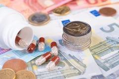 药物治疗高费用概念 免版税库存图片