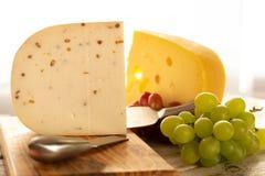 荷兰不幸Maasdam或Emmentaler、乳酪与孔和w 免版税库存照片