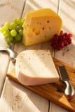 荷兰不幸Maasdam或Emmentaler、乳酪与孔和w 免版税库存图片