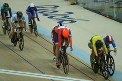 荷兰中部的奥林匹克冠军伊利亚州Ligtlee在行动的在里约2016奥林匹克妇女` s keirin第一回合热4期间 库存照片