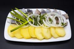 荷兰全国开胃菜,鲱鱼用葱 冰岛鲱鱼鲜美片断用煮沸的土豆和葱在板材 免版税库存图片