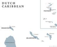 荷兰加勒比政治地图 库存例证