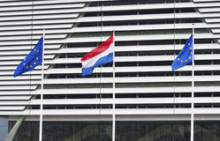 荷兰和欧盟旗子 免版税图库摄影