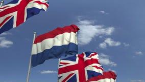 荷兰和英国的旗子反对天空蔚蓝,loopable 3D动画 向量例证
