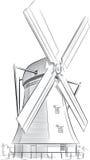 荷兰地标-风车剪影  库存照片