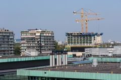 荷兰城市海牙的空中都市风景 免版税图库摄影