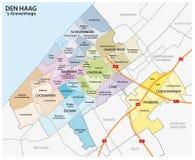 荷兰城市海牙的行政和政治地图 库存图片