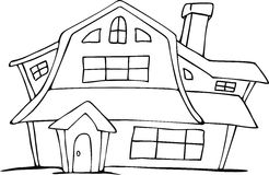 画荷兰房子的动画片手 免版税图库摄影