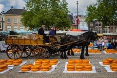 荷兰扁圆形干酪市场 库存照片