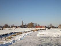 荷兰横向雪冬天 免版税库存图片