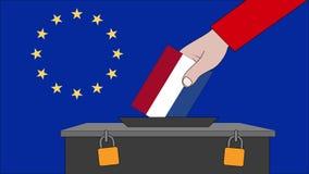 荷兰欧洲选举的投票箱 库存例证