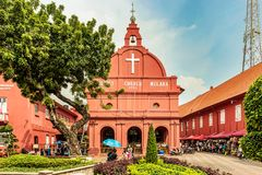 荷兰正方形的基督教会在马六甲, Melaka,马来西亚 免版税库存照片