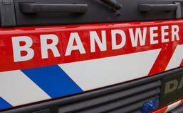 荷兰消防车的前面 免版税库存照片