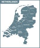 荷兰的详细的地图有地区的 管理部门 库存例证