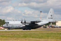 荷兰皇家空军Koninklijke Luchtmacht洛克希德C-130H赫拉克勒斯军事运输从336分谴舰队的航空器G-988 免版税库存照片
