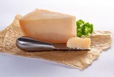 荷兰老阿姆斯特丹乳酪,做由山羊牛奶在白色backg 库存照片
