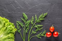 荷兰芹,莳萝,圆白菜在黑暗的具体背景离开,胡椒 沙拉和素食食物的新鲜的产品 免版税库存图片
