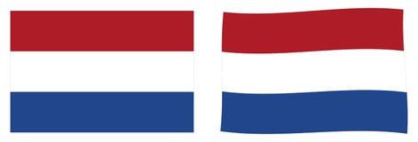 荷兰荷兰旗子 简单和有一点挥动的版本 皇族释放例证