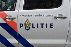荷兰警车关闭 免版税库存照片