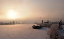 荷兰语冬天日出 免版税库存照片