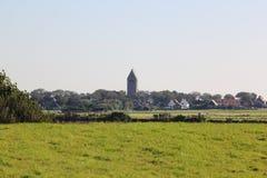 荷兰语在阿默兰岛,荷兰改革了Hollum教会  免版税库存图片