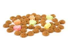 荷兰语姜螺母pepernoten典型的甜点 库存照片