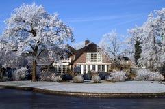 荷兰语庄园冬天 库存照片