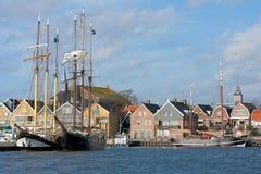 荷兰语捕鱼老沿海岸区urk村庄 图库摄影