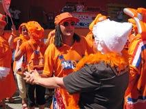 荷兰语橄榄球国家支持者小组 库存照片