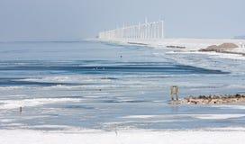 荷兰语海景windturbines冬天 免版税库存图片
