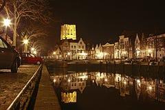 荷兰语港口晚上老村庄 免版税库存照片