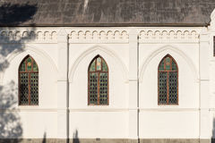 荷兰语被改革的教会的Windows在Nieu-Bethesd 免版税库存照片